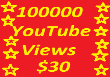 Very Fast 100,000 YouTube Video Views+1000 YouTube likes only