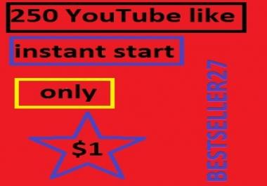 250+20 bonuses  YouTube likes instant start