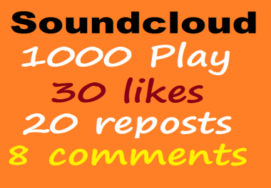 1000 USA Soundcloud play+30 like+20 repost+8 comments