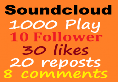 1000 Soundcloud play+10 follower+30 like+20 repost+8 comments