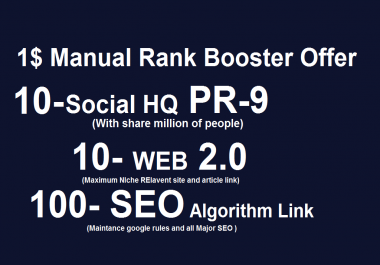 120 manual backlink with PR -9 social bookmarks for SEO rank