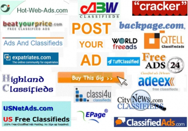 Post Your Ad on 50 Top classified websites