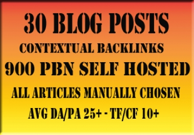 Boost Your SERP's with 30 Blog Posts Excellent DAPA & CFTF