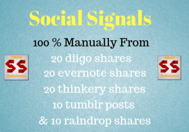 Get You 20 DIIGO , 20 THINKERY, 20 EVERNOTE, 10 TUMBLR, 10 RAINDROP SHARES FOR YOUR URL