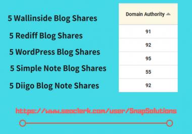 Give 5 Wallinside Shares, 5 Rediff blog, 5 Wordpress, 5 Simple Note, 5 Diigo Note Shares