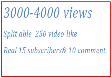 5000-6000 Plus  Guaranteed Views + 300 HQ YouTube video like& 10 channel subscribers