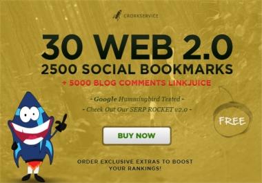 Make 30 web 2,0 properties,2500 social bookmarks backlinks Buy Here