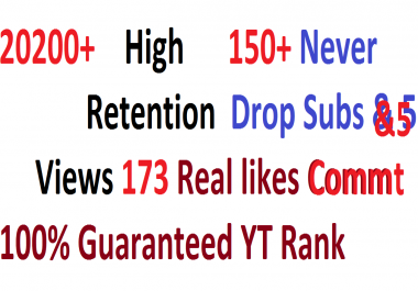20200++ HR views & 173+ Real likes & 150+ Real Subs & 40 Real comment for Youtube video Ranking