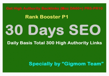 Rank Booster P1 - 30 Days SEO - Daily Basis Total 300 High Authority(DA60+) PR5-PR10 Manual Backlinks