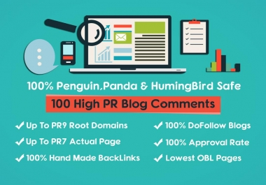 100 PR9 High PR dofollow blog comments Backlinks with LOWEST OBLs