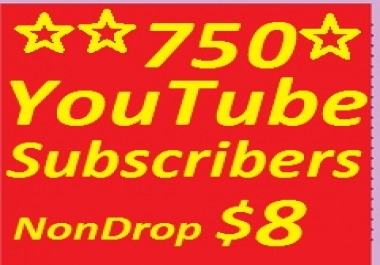 750 YouTube subscribers non drop guaranteed or 2500 YT Lik-es