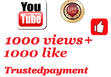 instant start 20000 or 20k youtube video views +20 like +1comment   very fast  delivery