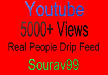 Youtube 5000+ Real People Desktop Drip Feed Views
