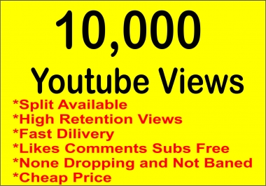 10,000-15000 Fast Real YOUTUBEVIEWS and Free All in one Others(like,subs,clicks,comments)your Video