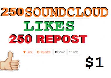 250 Soundcloud like or repost or 150 soundcloud followers