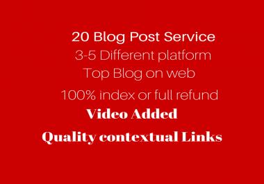 20 Blog links from different Blogs DA- 80+