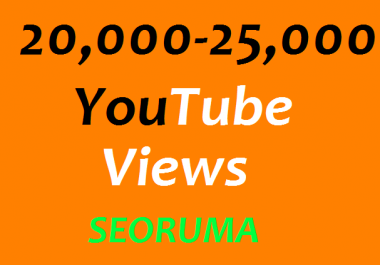Instant start 20,000 to 25,000 YouTube views non drop refill Guaranteed  Very Fast