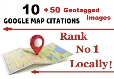 10 Google Map Citations + 50 GEOtagged Images for Local SEO Boost