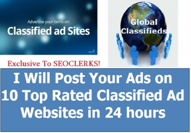 I Will Post Your Ads On 15 Top Rated High DA Classified Websites