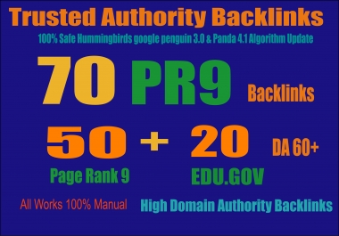 Exclusively-70 Backlinks 50 PR9 +20 EDU/GOV 80+ DA High Quality SEO Permanent Links Increase Google Ranking