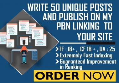 Write 50 Unique Posts on my PBN Linking to your Site TF:18, CF:18, Da:25