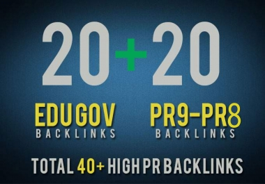 I will Manually Do 20 Pr 9-8 High Authority Domain & 20 Edu /Gov DA 80+ Back-links