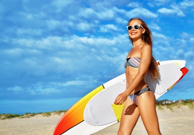 Put your Message Slogan or Logo on surfboard with Hot sexy ladies