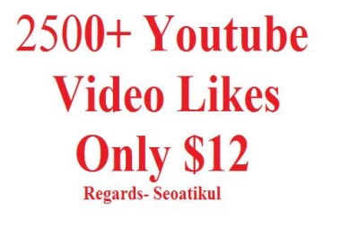 Give 2500+ Youtube Video Likes non drop super fast
