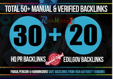 skyrocket your Google Rankings with 30 PR9 + 20 EDU/GOV Total 50 High PR Seo Social Backlinks