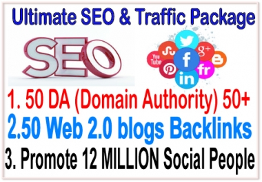 Ranking SEO & Social Campaigns- ​50 Web 2.0 blogs-50 DA -Submit Your any Link 12 Million Social site