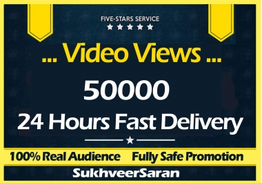 50000 Video views Promotion with Fast Delivery