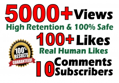 5000+ Views 100+ Likes 5 Comments Full Safe Real Lifetime Guarantee Seopromotion