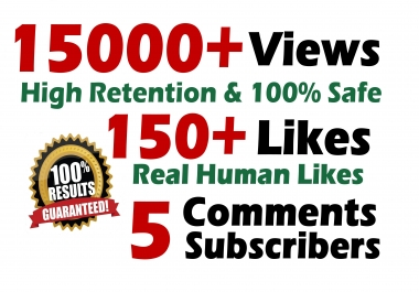 Youtube 15000+ Views and 150+ Likes with 5 Comments Splitable SeoPromotion