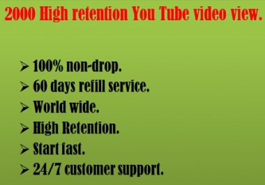 1000 high Retention You Tube video view within 24 hours