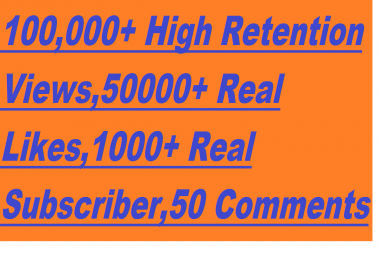 YouTube Boost - 100,000+ Non Dropped Youtube Views,5000+ Real & Non Dropped Likes & 1000+ Real & Active Subscribers With 50+ Custom Comments