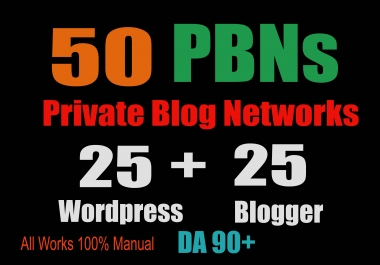 50 PBN POSTs (Blogger and WordPress) 90 High DA