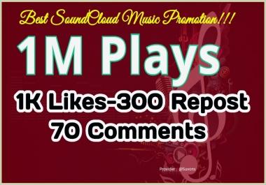 Best S0undcloud Music Promotion, 1M Safe Listeners, 1K L1kes- 300 Re-post and 70 C0mments