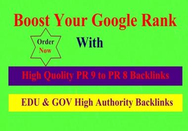 20 PR9 to PR 7 + 20 EDU/GOV high quality backlinks