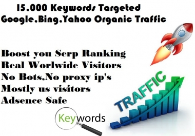 Drive 15,000 Google Keyword targeted Real  traffic with Low Bounce Rate