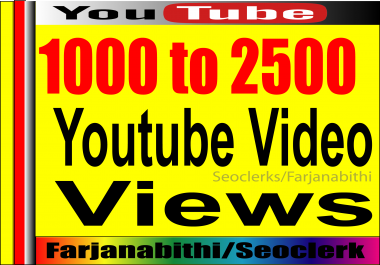 BOOM! BOOM! Offer!! 1,000+ To 2,000 HIGH RETENTION Real & Active adsence safe Youtube vie ws for your videos