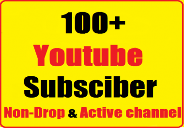 Instant start 100+ Youtube Real Channel Subs'cribers non drop and safe