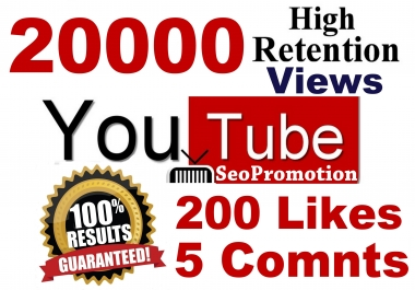 20000 HR views & 200 Likes & 5 Real comments Youtube video SeoPromotion