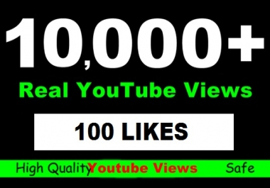 Give 10155+ YOUTUBE Views +100 Likes  Guaranteed Splittable In 24 -96 Hrs for $10