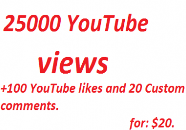 25000 High Quality  YouTube Views and 100 likes+ 20 Custom Comments