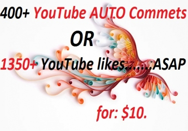 400 YouTube AUTO Comments OR 1350 YouTube likes