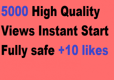 5000 High Quality Views Instant Start Fully safe +10 likes