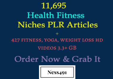 11,695 Health Fitness Niches PLR Articles