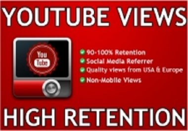 Provide 1000+ YouTube 90 - 95% Retention Views to your video