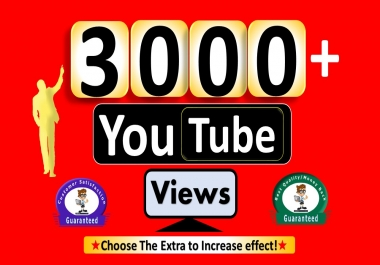 Instant Start 3000+YouTube-Video Views, Non Drop & Good Retention
