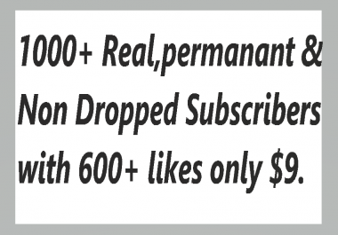 1000+ Fast & Non Dropped You,Tube Subs.cribers With 200+ Real Lik,es Super fast Delivery
